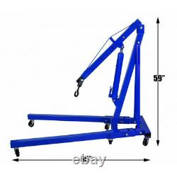 1000kg 1Ton Blue Hydraulic Folding Engine Crane Stand Hoist Lift Jack with Wheels