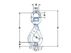 16MM Grade 100 Swivel Self Locking Lifting Hook 10 Ton Chain Sling Gear 10T