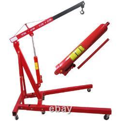 1Ton Heavy Duty Folding Frame Hydraulic Garage Lift Engine Crane Hoist Wheels