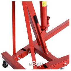 1Ton Tonne Hydraulic Adjustable Folding Engine Crane Stand Hoist lift Jack Wheel