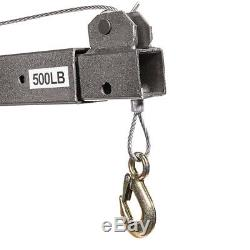 1/2 Ton 1100lb Lift Crane Jack Hoist Swivel Lifting with Cable Winch Pickup Truck