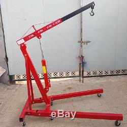1 T Ton Hydraulic Folding Engine Crane Stand Hoist lift Jack Lifter in Red