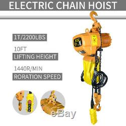 1 Ton 2200lb Capacity 10-Foot Lift Electric Chain Hoist Crane