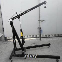 1 Ton Folding Jack Engine Crane Stand Hoist Engine Hydraulic Lift Black