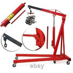 1 Ton Hydraulic Folding Engine Crane Stand Hoist Lift Jack with Wheels Workshop