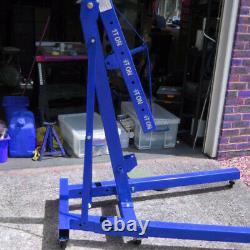 1 Ton Hydraulic Folding Engine Motor Crane Stand Mobile Hoist lift Jack Workshop