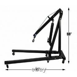 1 Ton Hydraulic Folding Workshop Engine Crane Hoist Lift Heavy Duty Stand Wheels