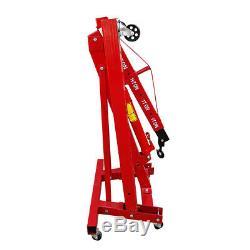 1 Ton Red Folding Engine Crane Stand Hydraulic Lift Jack Hoist Hydraulic Wheel