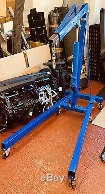 1 Ton Tonne Folding Engine Crane Engine Lift Hoist Stand Garage Hydraulic