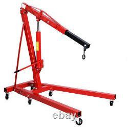 1 Ton Tonne Heavy Duty Engine Crane Stand Hoist Lift Jack Hydraulic Folding Red