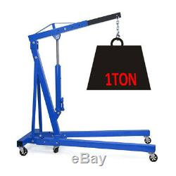 2TON Garage Car Vehicle Hydraulic Engine Crane Hoist Folding Stand Durable Wheel