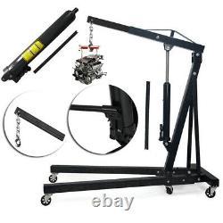 2Ton Hydraulic Folding Engine Crane Hoist Lift Stand 2000kg Garage Workshop Lift