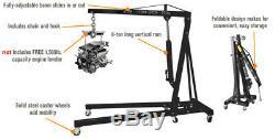 2Ton Moving Folding Engine Crane Hoist Lift Jack Lifting Tool With 4 Jib Positions