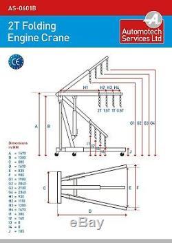 2.0 TON FOLDING ENGINE GEARBOX CRANE / MOBILE HOIST (2000Kg capacity) CAR HOIST