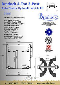 2 POST HYDRAULIC LIFT / RAMP 4.0 TON 415 Volt 3 Phase