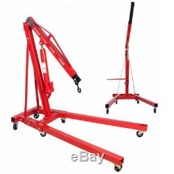 2 Ton Folding Engine Crane Workshop Hoist 2000kg Hydraulic Lifting Red Tools NEW