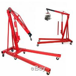 2 Ton Folding Hydraulic Engine Crane Hoist Lift Jack Stand Wheels Car Van Lifter