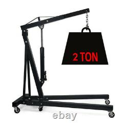 2 Ton Folding Hydraulic Garage Shop Lift Engine Crane Stand Hoist Heavy Duty NEW