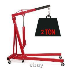 2 Ton Heavy Duty Engine Crane Hydraulic Folding Hoist Lift Stand Lifting Mobile