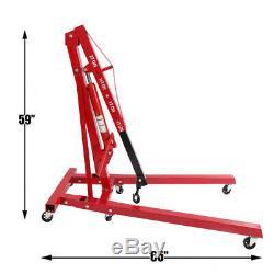 2 Ton Hydraulic Car Engine Crane Stand Hoist lift Folding Workshop Heavy Duty