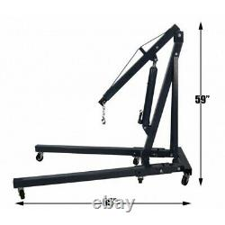 2 Ton Hydraulic Folding Engine Crane Hoist Lift Cantilever Lifting Garage Wheels