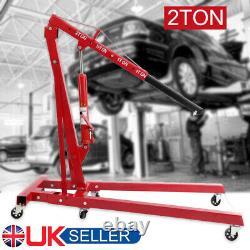 2 Ton Hydraulic Folding Engine Crane Hoist Lift Jack Stand Wheels Workshop UK