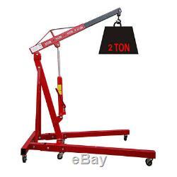 2 Ton Hydraulic Folding Engine Crane Hoist Lift Stand Wheels Workshop Foldable