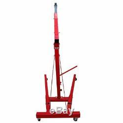 2 Ton Hydraulic Folding Engine Crane Hoist Lift Stand Wheels Workshop lift Jack