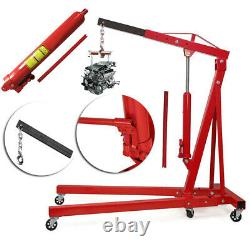 2 Ton Hydraulic Folding Engine Crane Hoist Lift Workshop Lifter with Wheels Red