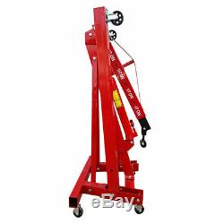2 Ton Hydraulic Folding Engine Crane Stand Hoist Lift Jack Wheel Workshop Red UK