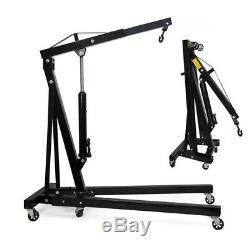 2 Ton Hydraulic Folding Engine Crane Stand Hoist Lift Wheels Lifting 2000KG Jack