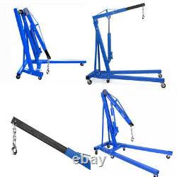 2 Ton Hydraulic Folding Engine Crane Stand Hoist Lift with Wheels Hook Portable