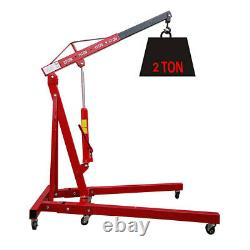 2 Ton Hydraulic Folding Workshop Engine Crane Hoist Lift Stand Mobile Wheels UK