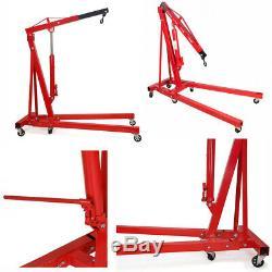 2 Ton Lift Hoist Engine Crane Garage Workshop Lifting Equipment Aid Casters Red