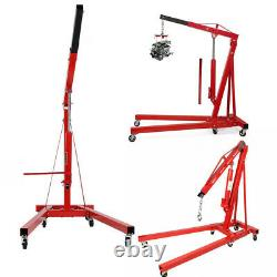 2 Ton Red Pro Lift Engine Crane Hoist Pulley Trolley For Workshop Warehouse
