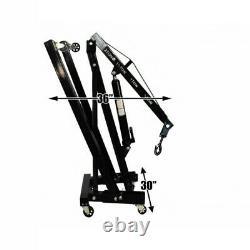 2 Ton Tonne Engine Hydraulic Crane Stand Folding Hoist lift Tools Workshop Wheel