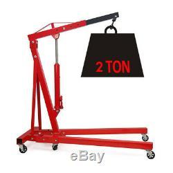 2 Ton Tonne Hydraulic Engine Crane Stand Hoist Lift Folding Jack Wheels Lifting