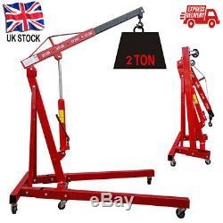2 Ton Tonne Hydraulic Engine Crane Stand Hoist lift Jack lifting Folding Crane