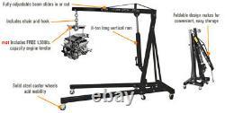 2 Ton Tonne Hydraulic Folding Engine Crane Stand Hoist Lift Jack Wheels Lifting