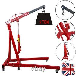 2 Ton Tonne Hydraulic Folding Engine Crane Stand Hoist lift Jack Wheels Workshop