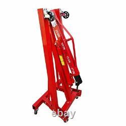 2 Ton Tonne Hydraulic Folding Workshop Engine Crane Hoist Lift Stand Wheels UK