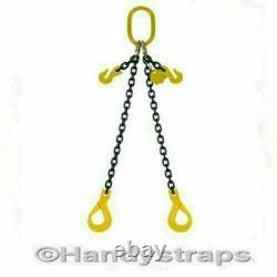 2m x 2 Leg x 7mm Self Locking Hooks Lifting Chain Sling 2.12ton Shortners Rated