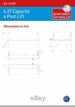 4 Post Lift / Four Vehicle Car Ramp / Hoist 4.2 Ton, With Jack Beam New