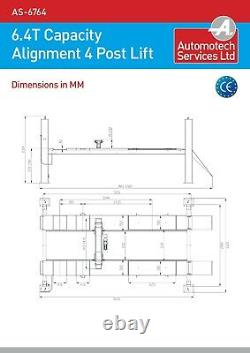4 Post Wheel Alignment Lift / Vehicle Car Ramp / Hoist 6.4 Ton, With Jack Beam