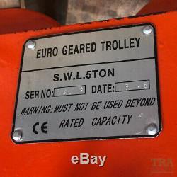 5 Ton Adjustable Geared Trolley Overhead I Beam Plain RSJ Girder 5000Kgs NEW