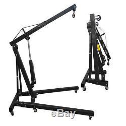 Adjustable Hydraulic Folding Engine Crane Stand Hoist Lift Jack with Wheel 1 Ton