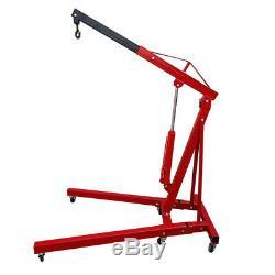 Advanced Folding Crane Engine Hydraulic Hoist Lifting Machine Garage Tool 1 Ton