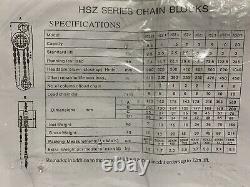 Amoel 3 Ton HS-C Type Chain Hoist chain Blocks HSZ3 NOS 10' Lift 4.5 ton Max