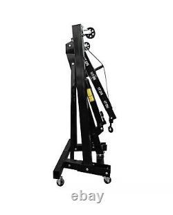Black 1 Ton Tonne Hydraulic Folding Engine Garage Crane Stand Hoist Lifting Jack