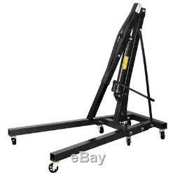 Black 2 Ton 2t Hydraulic Garage Workshop Folding Engine Hoist Lift Lifting Crane